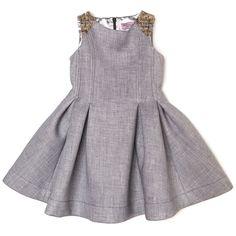 Monnalisa Chic udsalg børnetøj Grå kjole uden ærmer og boucle skuldre tilbud børnetøj
