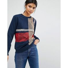 Sportmax Code Fida Check Sweatshirt (695 SAR) ❤ liked on Polyvore featuring tops, hoodies, sweatshirts, blue, lacy tops, crew-neck sweatshirts, checkered top, crew top and crewneck sweatshirt