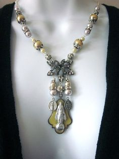 SALE Statement Assemblage Necklace, Religious Vintage Medals and Pearls, Ave Maria
