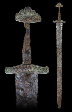 "myArmoury.com A Viking Sword of Petersen Type R (Variant) and Wheeler Type VI, 10th/11th century, probably East European  Overall length: 85.4 cm (33.6""); Blade length: 71.3 cm (28.1"")"
