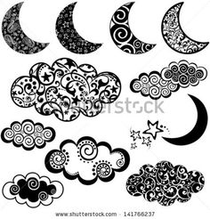 Set of moon and cloud icons isolated on white background. Vector illustration by Kalenik Hanna, via Shutterstock