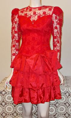 1980s Special Occasion Women's Red Taffeta Floral Lace Dance Party Above The Knee Handmade Evening Prom Dress by Sweetlorraines2 on Etsy