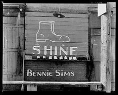 Shoeshine stand detail, Southeastern U.S.  1936. Walker Evans