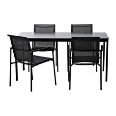"GARPEN Table and 4 arm chairs IKEA Rustproof aluminum frame is both sturdy and lightweight.approx.30""x60"" $345"