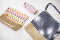 Sewing tutorial for these 3 bags: tote bag, pencil case, and lunch bag