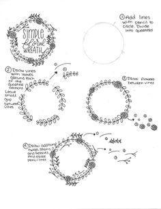 How to Draw a Simple Floral Wreath