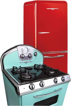 """The retro """"Northstar"""" appliance line from Elmira Stove Works features fifties flare and chrome accents. You can pick a color from the inspired tones like """"flamingo pink"""", """"robin's egg blue"""", """"candy red"""", or even customize your own color"""