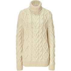 MICHAEL KORS Ecru Cable Knit Sweater (1,915 BAM) ❤ liked on Polyvore featuring tops, sweaters, shirts, cardigans, jumpers, pullover sweaters, long-sleeve shirt, turtleneck shirt, turtleneck long sleeve shirt and cable knit turtleneck sweater