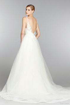 tara keely bridal fall 2013 sleeveless ball gown wedding dress trumpet skirt illusion v neck lace horsehair hem style 2353 back