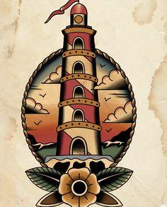 Sanduhr Tattoo Old School, Old School Tattoo Designs, Traditional Tattoo Old School, Traditional Style Tattoo, Tattoo Sketches, Tattoo Drawings, Traditional Lighthouse Tattoo, Traditional Tattoo Inspiration, Tatuagem Old Scholl