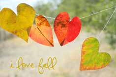 Leaf heart garland- great for Valentine's Day or as a fall decoration.