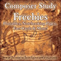 Composer Study Resources, Freebies, Printables and Deals - Homeschool Giveaways Music Lesson Plans, Music Lessons, Piano Lessons, Middle School Music, Music Worksheets, Homeschool Worksheets, Piano Teaching, Teaching Orchestra, Music Classroom
