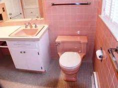 Retro Bathroom 50s Bathroom Peach Tile With Reddish