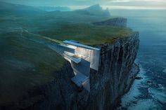 This daring concrete retreat carved into the cliffside in Iceland looks like a natural extension of the rough landscape. Architect and artist Alex Hogrefe designed the building as a reflection of the country's craggy glaciers with enviable ocean views. Architecture Cool, Architecture Visualization, Concrete Architecture, Architecture Portfolio, Historical Architecture, Residential Architecture, Contemporary Architecture, Contemporary Design, Design Exterior