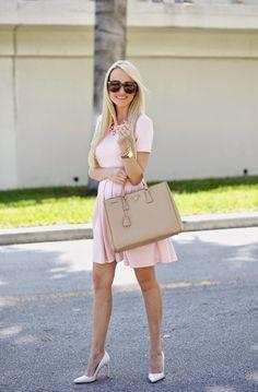 light pink + darker pink necklace + neutral accessories