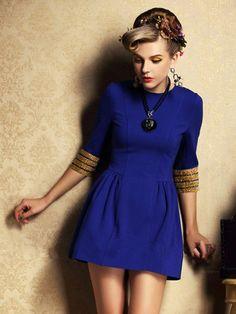 Blue Half Sleeve With Bead Round Collar Pouf Dress - Fashion Clothing, Latest Street Fashion At Abaday.com