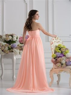 A-line strapless sweetheart pink chiffon 2014 Prom Dresses PMPD0014