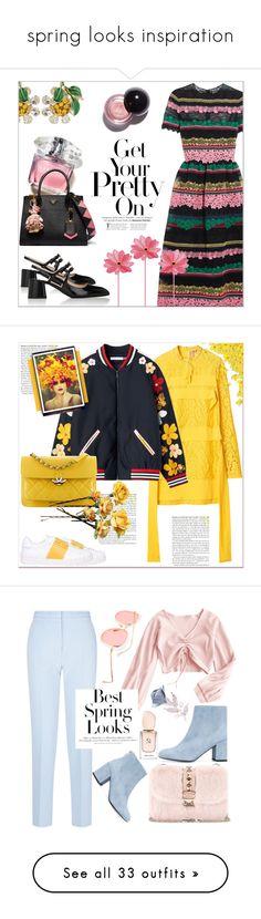 """spring looks inspiration"" by yseultdel ❤ liked on Polyvore featuring Valentino, Prada, Dolce&Gabbana, handlebag, Chanel, Stuart Weitzman, Victoria, Victoria Beckham, Giorgio Armani, H&M and MANGO"