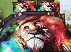 Dreamlike Colorful Lion Print 4-Piece Polyester #3D Duvet Cover #bedding #bedroom #decor