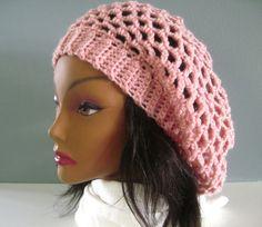 Crochet Slouchy Hat - Lacy Open Weave - In Pink -$19