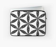 Floral pattern in black and white by cocodes #laptop sleeve #redbubble http://www.redbubble.com/people/cocodes/works/21640581-floral-pattern-in-black-and-white?p=laptop-sleeve
