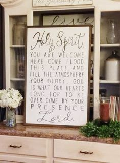 Hey, I found this really awesome Etsy listing at https://www.etsy.com/listing/473644835/holy-spirit-you-are-welcome-here-wood