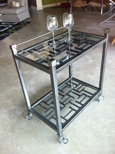 Handmade recycled Steel Bar cart