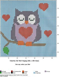 VALENTINE OWL WALL HANGING by KATHY FRANKLIN Plastic Canvas Tissue Boxes, Plastic Canvas Crafts, Plastic Canvas Patterns, Owl Ornament, Owl Patterns, Yarn Crafts, Cross Stitch Embroidery, Napkin Holders, Room Decorations