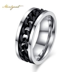 Meaeguet Fashion Men's Accessory Ring -  Stainless Steel Black Chain Spinner