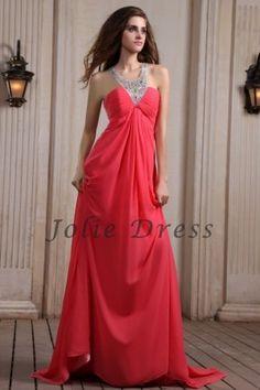 Sweep TrainA-Line Halter Chiffon Prom Dresses