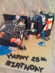 Trendy Ideas birthday cake ideas for boys Boys 18th Birthday Cake, Teenage Boy Birthday, Teenager Birthday, Birthday Parties, Birthday Cakes, Birthday Ideas, Bed Cake, 18th Cake, Cupcakes For Boys