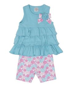 This Turquoise Ruffle Tank & Pink Rose Shorts - Infant by Cutie Pie Baby is perfect! #zulilyfinds