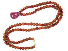 Heart Chakra Mala- Rudraksha Beads Pink Jade 108 Prayer Buddhist Meditation Rosary Gift Idea Mogul Interior