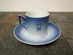 vintage 1982 ROYAL COPENHAGEN  Cup and Saucer, Denmark * Waiting for Christmas set by mauryscollectibles on Etsy