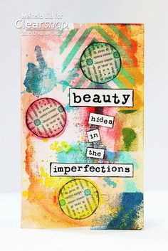 Turn office supplies like index cards, old books, and more into stunning mixed media pieces. Just add ink! Here's a collage project that features ColorBox Pigment Inks and Izink Inks with some old book pages.| Created by Meihsia Liu for Clearsnap Blog