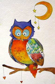 'Owl with Moon and Stars' by Art Lindsay