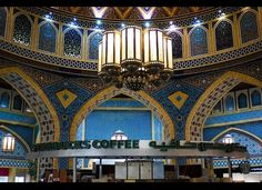 Starbucks kiosk located inside Dubai's extravagantly decorated Ibn Battuta Mall. This Starbucks location benefits from some pretty stunning surrounding design.