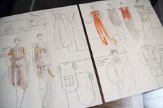 Fashion Sketchbook - fashion sketches inspired by Balenciaga; fashion drawings