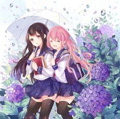 Hydrangea: Endless Field of Flowers - pixiv Spotlight Anime Girlxgirl, Chibi Anime, Yuri Anime, Anime Best Friends, Friend Anime, Manga Kawaii, Kawaii Anime Girl, Anime Art Girl, Anime Girls