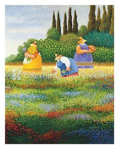 Shop for Spring Gathering by Lowell Herrero Gallery-Wrapped Canvas Giclee Art. Get free delivery On EVERYTHING* Overstock - Your Online Art Gallery Store! Art And Illustration, Plus Size Art, Arte Country, Arte Popular, Naive Art, Landscape Prints, Canvas Prints, Art Prints, Folk Art