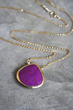 Purple Turquoise Heart Bezel 14k Gold Filled Necklace by shopkei, $46.00