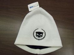 Wreath and Skull design embroidered on a CoolMax lined knit beanie.