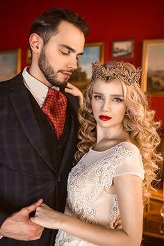 Роскошная свадебная фотосессия в королевском стиле, жених и невеста