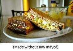 Healthy Egg Salad Recipe (without mayo).no mayo, yeah! Good Healthy Recipes, Real Food Recipes, Cooking Recipes, Budget Recipes, Fast Recipes, Egg Recipes, Salad Recipes, Egg Salad Without Mayo, Mayonnaise
