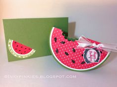 InkyPinkies: Summer is Here! Watermelon Slice Birthday Card. Stampin' Up Punch Art, Label Something stamp set.
