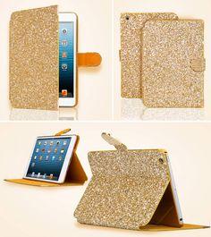 Smart Bling Diamond Card Slot Stand Folio Leather Case Cover for iPad Mini Leather Case, Pu Leather, Ipad Mini, Green And Gold, Slot, Bling, Diamond, Cover, Christmas