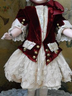 ~~~ Wonderful French Velvet and Silk Three Piece Costume with Bonnet from whendreamscometrue on Ruby Lane