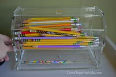 pencil dispenser, pencil holder, homeschool,  classroom ideas