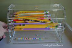 pencil dispenser, pencil holder, homeschool,  classroom ideas