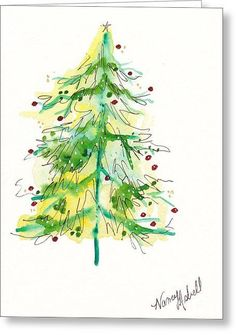 Green Watercolor Christmas Tree Greeting Card by Michele Hollister - for Nancy Asbell